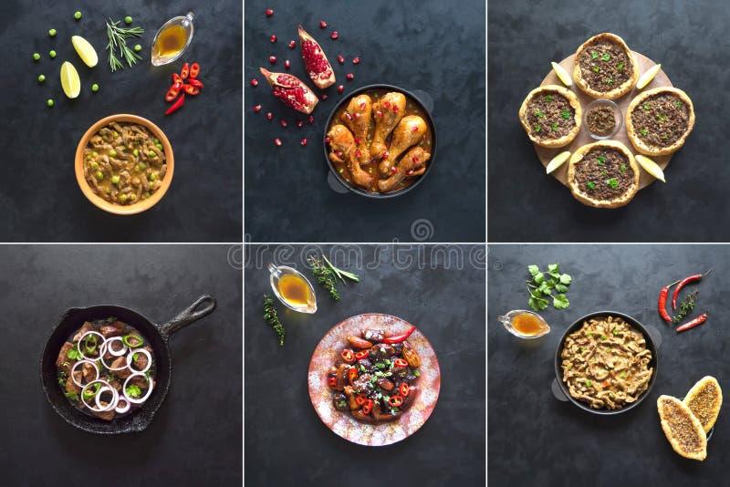 Kolaż z różnorodnymi mięsnymi naczyniami światowa kuchnia obraz royalty free