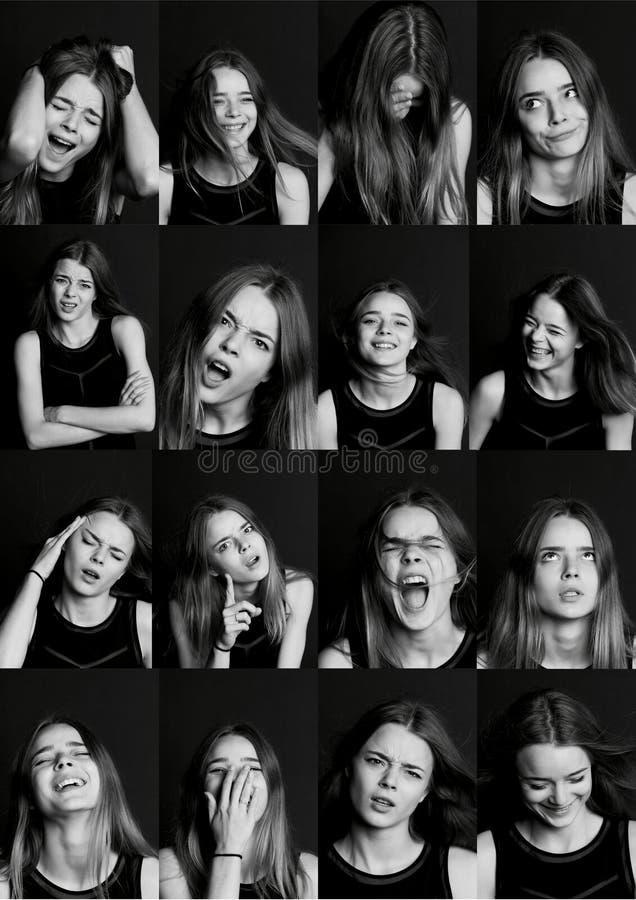 Kolaż z różnymi typ ludzka emocja Różnorodność ich manifestacje obraz stock