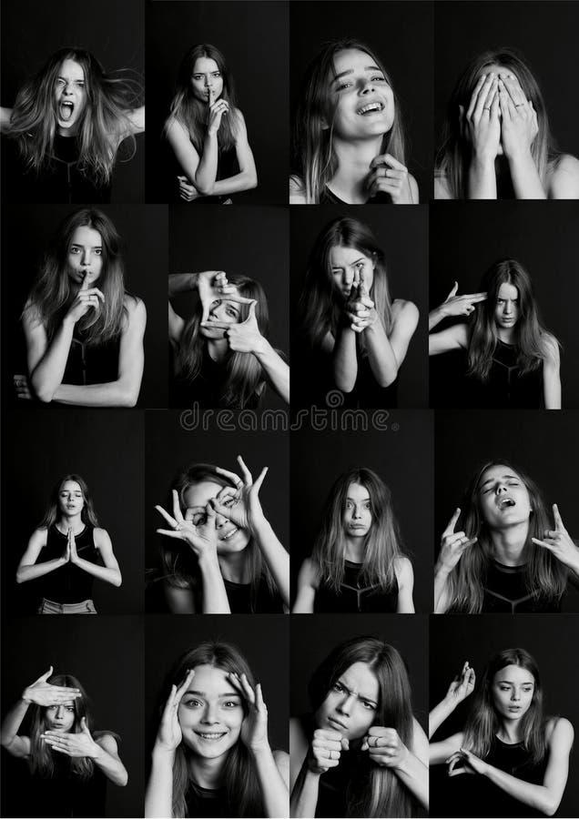 Kolaż z różnymi typ ludzka emocja Różnorodność ich manifestacje fotografia stock