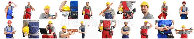 Kolaż z rzemieślnika pracownika budowlanego monteur - życzliwy wo zdjęcie royalty free