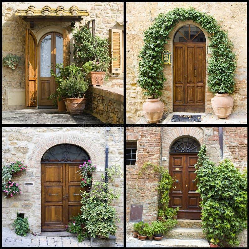 Kolaż z starymi włoskimi drzwiami obraz royalty free