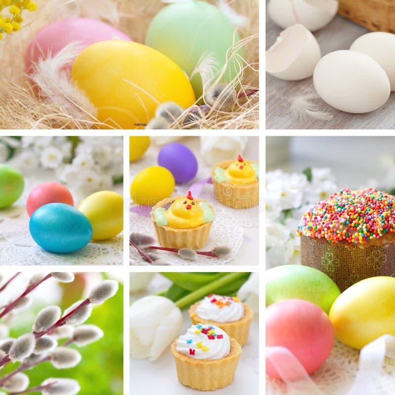 Kolaż z wielkanocy tortowymi i Wielkanocnymi jajkami zdjęcie stock