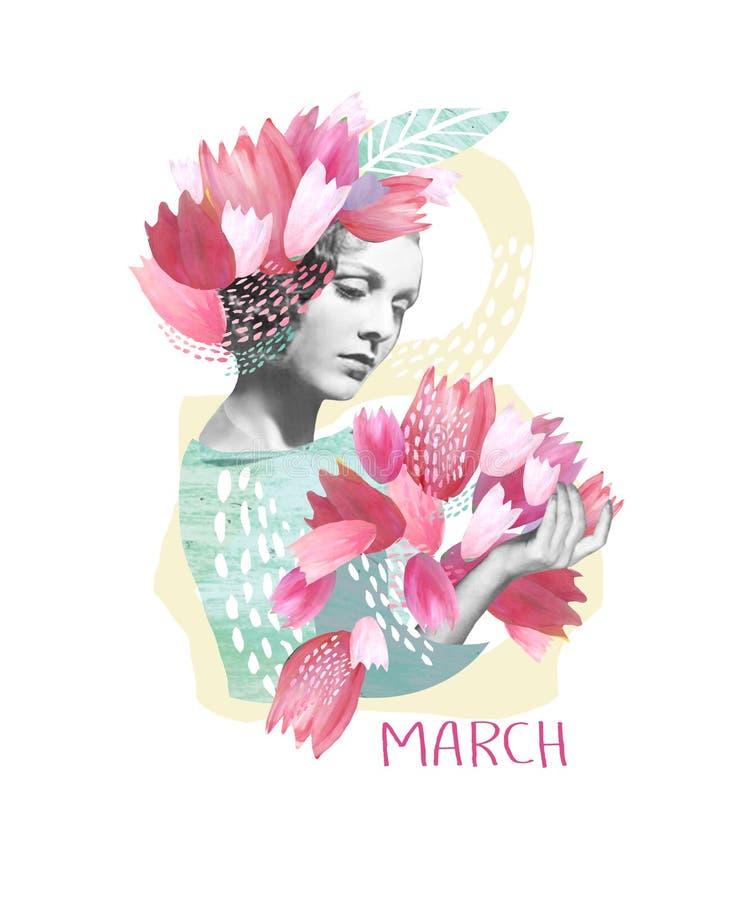 Kolaż z wizerunkiem wiosny dziewczyna z menchiami kwitnie w jego włosy i bukiecie tulipany Gratulacje na Internatio obraz stock