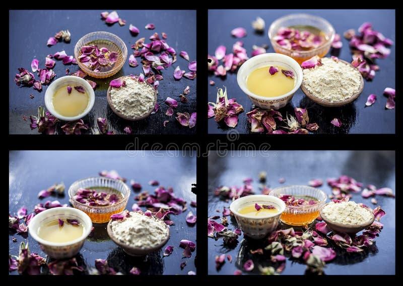 Kolaż Ziołowa twarzy paczka gramowa mąka i miód z niektóre różani płatki na drewnianej powierzchni obraz stock
