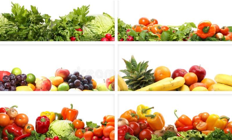 kolażu świeżych owoc smakowici warzywa fotografia stock
