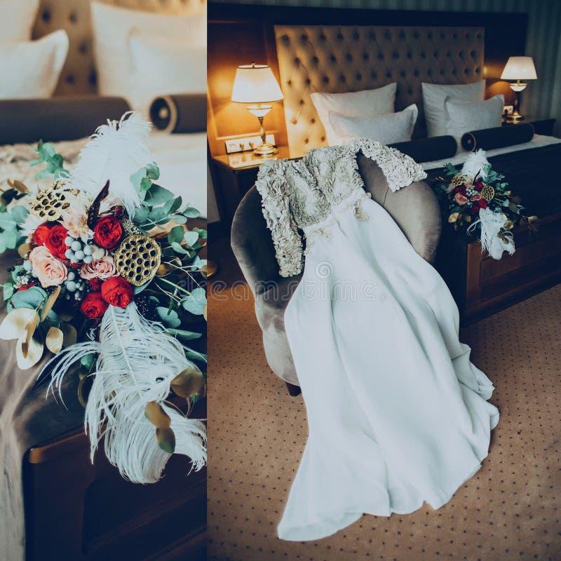 Kolażu bukiet w pokoju hotelowym i fotografia royalty free