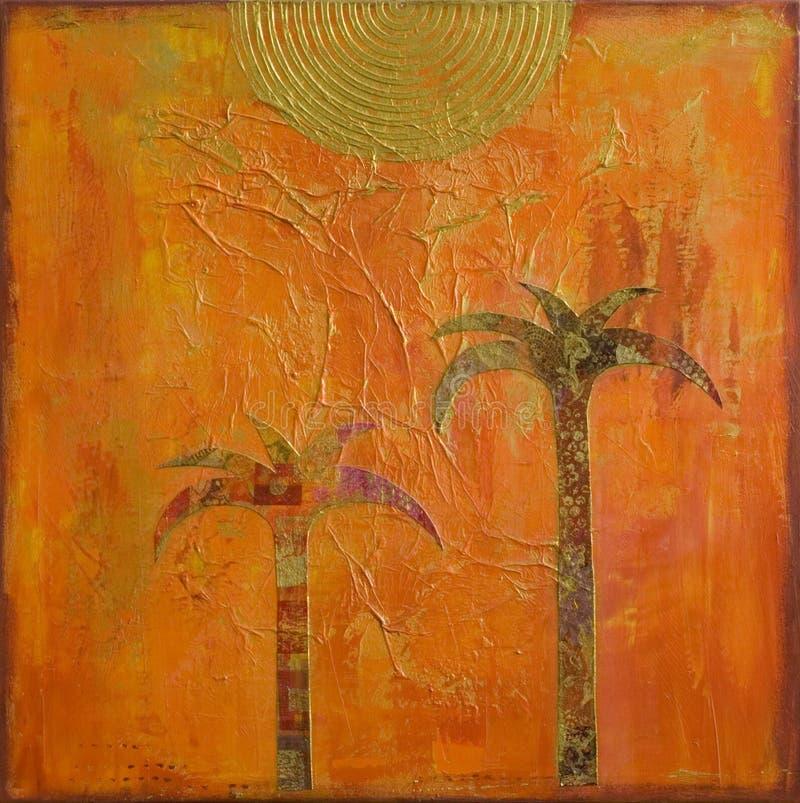 kolażu drzewko palmowe ilustracji