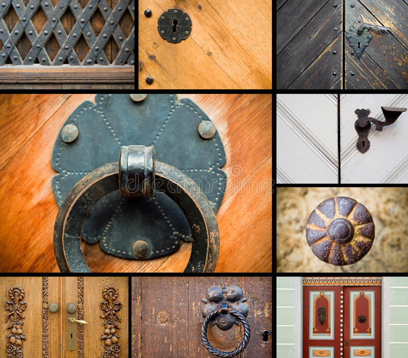 kolażu drzwi kędziorki starzy obraz royalty free