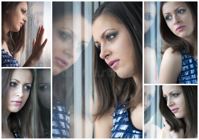 kolażu dziewczyny dopatrywania okno potomstwa obraz stock