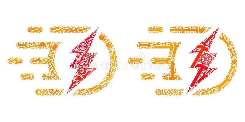 Kolażu Elektrycznego ładunku ikony Usługowi narzędzia ilustracja wektor