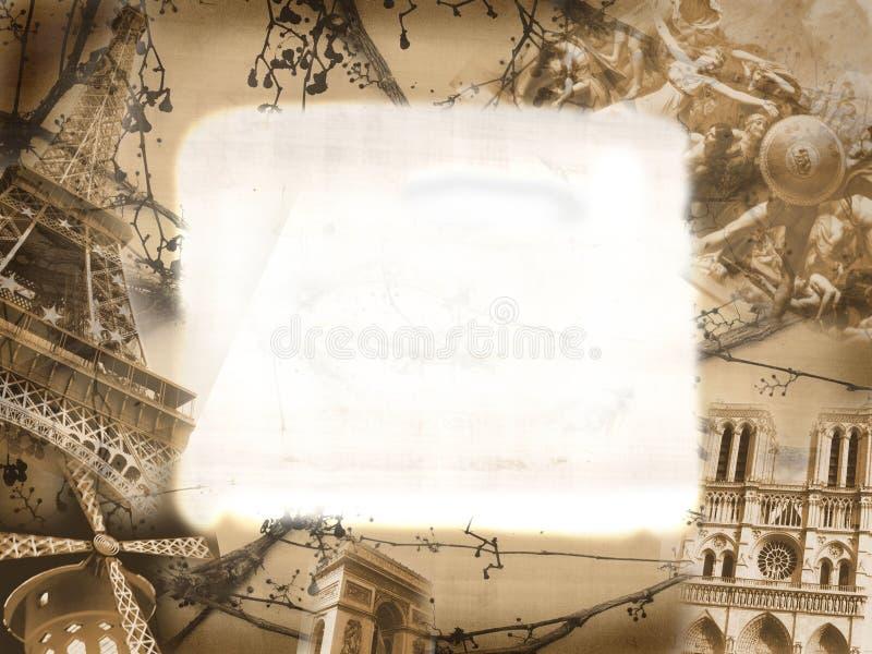 kolażu grunge zabytków Paris styl ilustracja wektor