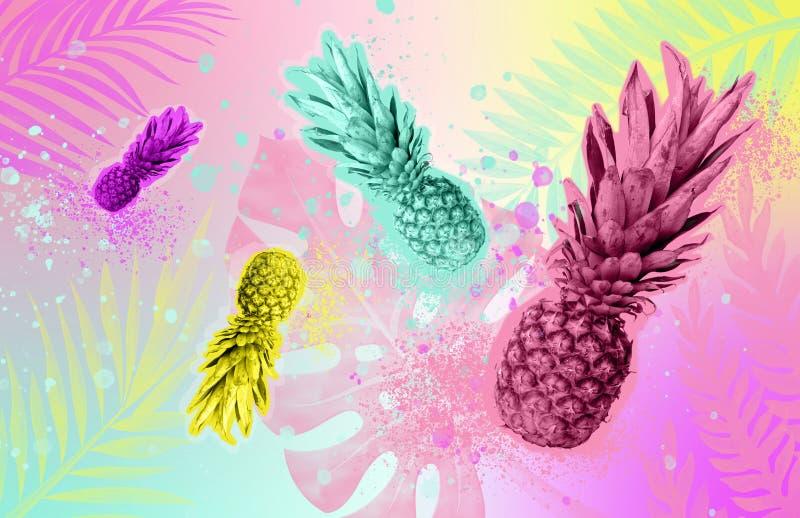Kolażu lata tropikalny pojęcie Barwioni ananasy na barwionym tropikalnym tle Zine projektują obraz stock