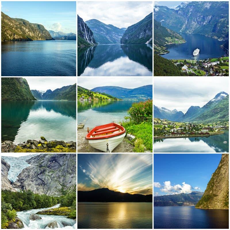 Kolażu Norwegia naturalni waterscapes. obrazy royalty free