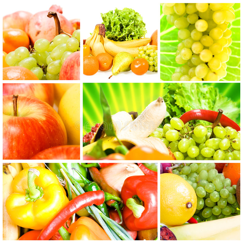 kolażu owoc warzywa zdjęcie royalty free