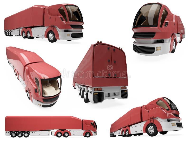 kolażu pojęcie odizolowywająca ciężarówka royalty ilustracja