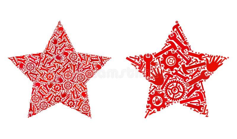 Kolażu Red Star ikony Remontowi narzędzia ilustracji