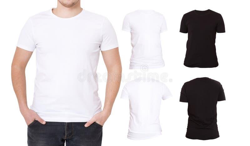 Kolażu T koszula Czerń, biały Frontowa i Tylna widok koszula szablon Makro- tshirt ustawiający odizolowywającym Pusta tło reklama zdjęcie royalty free