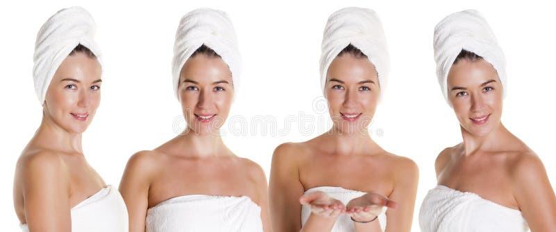 Kolażu zdrój Cztery Pięknej młodej kobiety w białym ręczniku zdjęcia royalty free