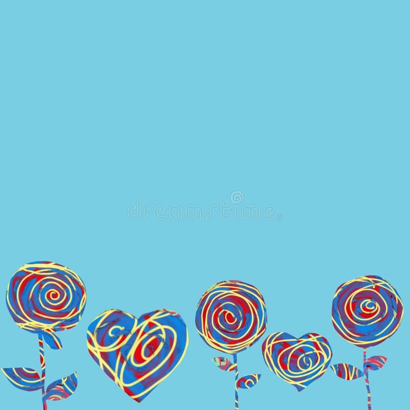 Kolaży kwiaty na błękitnym tle i serca Abstrakcjonistyczna kartka z pozdrowieniami dla Valentine's dnia ilustracji