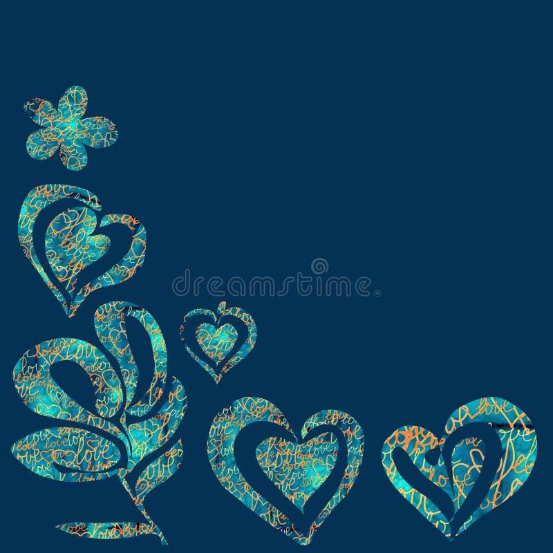 Kolaży kwiaty na koloru błękitnym tle z słowami miłość i serca royalty ilustracja