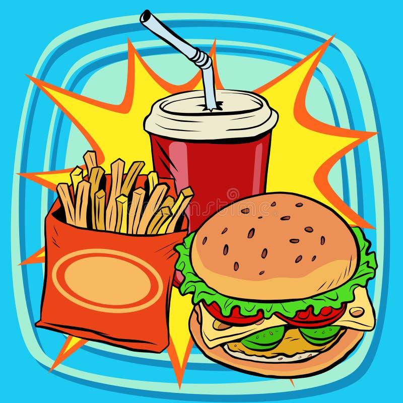 Kola de boissons d'hamburger de fritures d'aliments de préparation rapide illustration stock