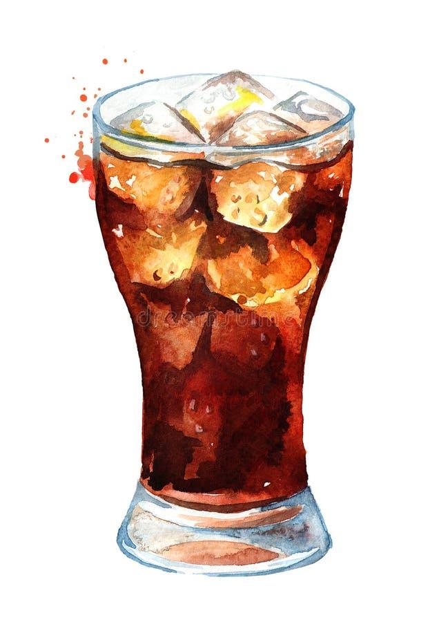 Kola de boissons en verre avec des gla?ons Illustration tir?e par la main d'aquarelle, d'isolement sur le fond blanc illustration stock