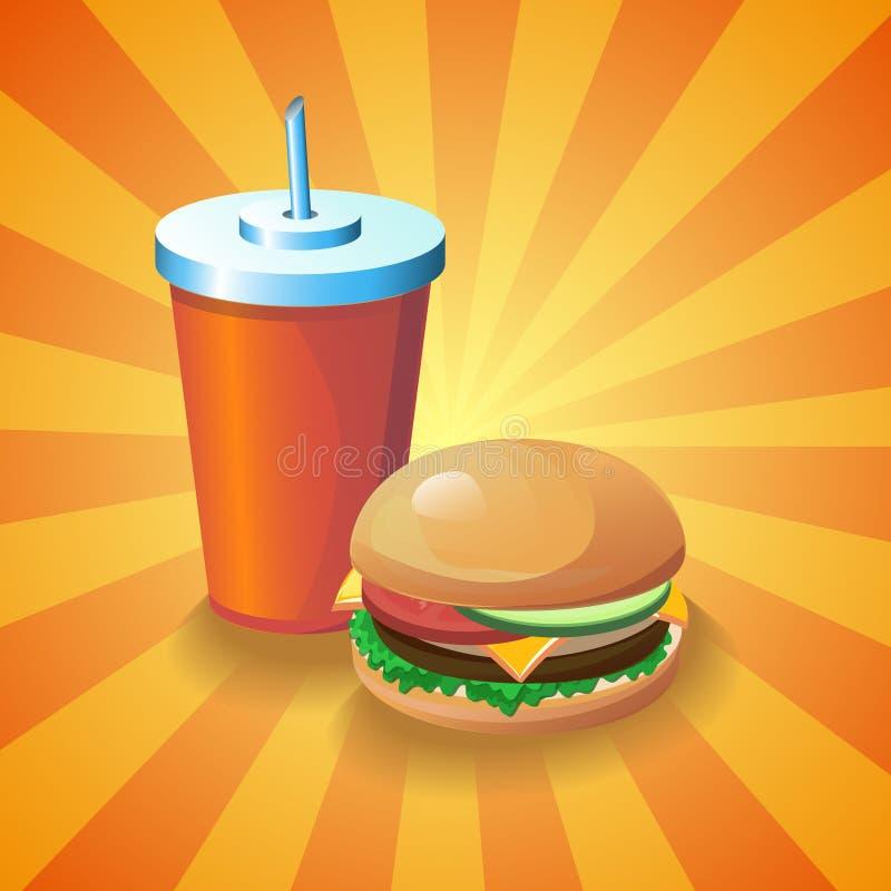 Kola et hamburger illustration libre de droits