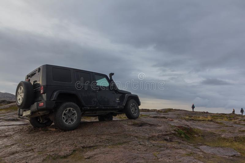Black Jeep Wrangler Sahara royalty free stock images