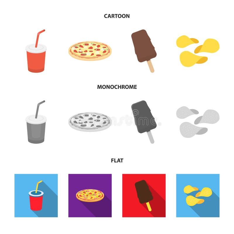 Kola, pizza, crème glacée, puces Icônes réglées de collection d'aliments de préparation rapide dans la bande dessinée, actions pl illustration libre de droits