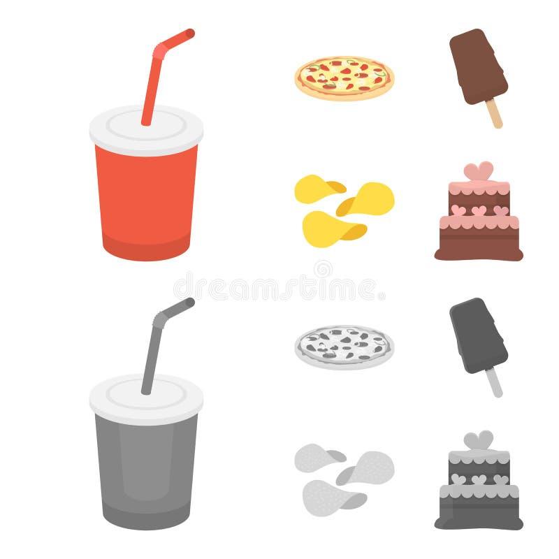 Kola, pizza, crème glacée, puces Icônes réglées de collection d'aliments de préparation rapide dans la bande dessinée, actions mo illustration stock