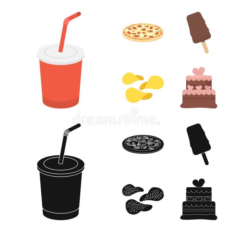 Kola, pizza, crème glacée, puces Icônes réglées de collection d'aliments de préparation rapide dans la bande dessinée, Web noir d illustration de vecteur