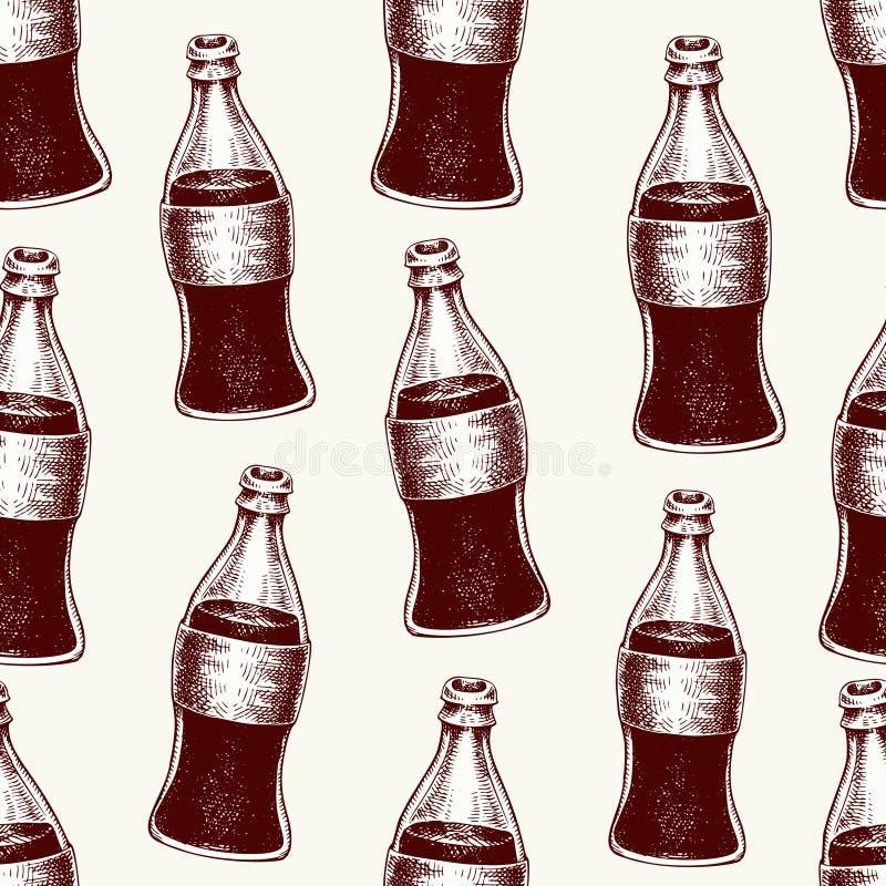 Kolabaum in den Glasflaschen Nahtlose gezeichnetes Muster des Vektors Hand mit Getränken Getränk mit Blasen in der Weinleseart stock abbildung