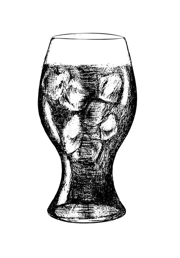 Kolabaumglas mit Eiswürfeln lizenzfreie abbildung