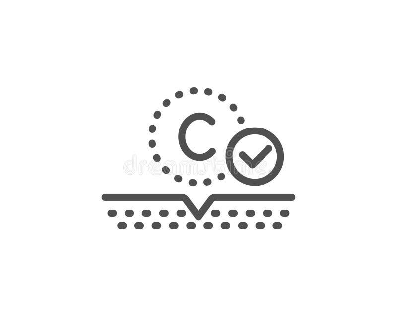 Kolagen skóry linii ikona Kremowy opieka znak Kosmetyczna p?ukanka wektor ilustracji