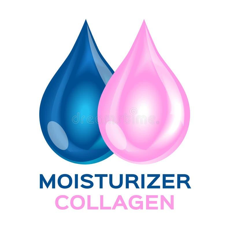 Kolagenu i moisturizer ikona, logo i dwoisty moisturizer kolagen royalty ilustracja