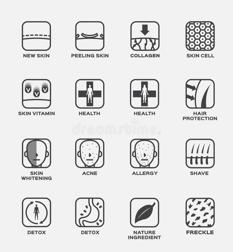 Kolagenu, skóry i włosy ikony wektor, komórki witaminy zdrowie dobierania trądzika alergii ogolenia detox natury składnika pieg ilustracji