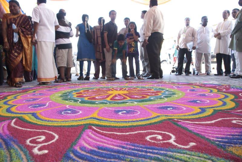 Kolam, the Hindus decorations stock photo