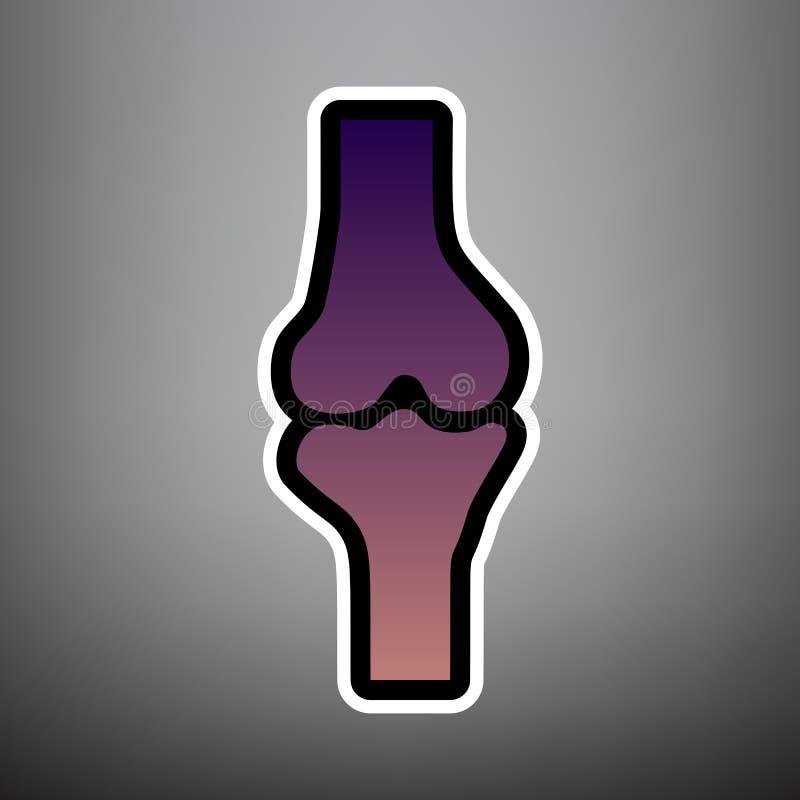 Kolanowego złącza znak wektor Fiołkowa gradientowa ikona z czernią i whi royalty ilustracja