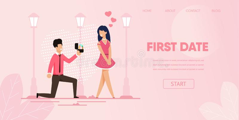 Kolanowy chłopak z pierścionkiem Robi propozycji dziewczyny royalty ilustracja