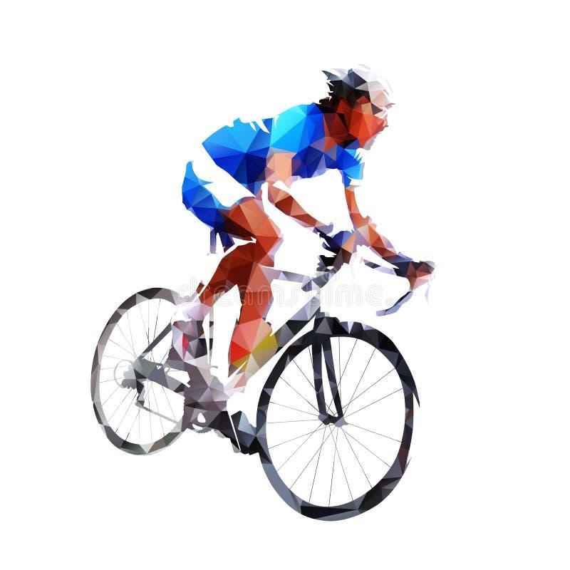 Kolarstwo ikona, geometryczny drogowy cyklista royalty ilustracja