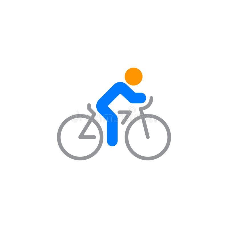 Kolarstwo ikony wektor, rowerowy stały mieszkanie znak, kolorowy piktogram odizolowywający na bielu royalty ilustracja