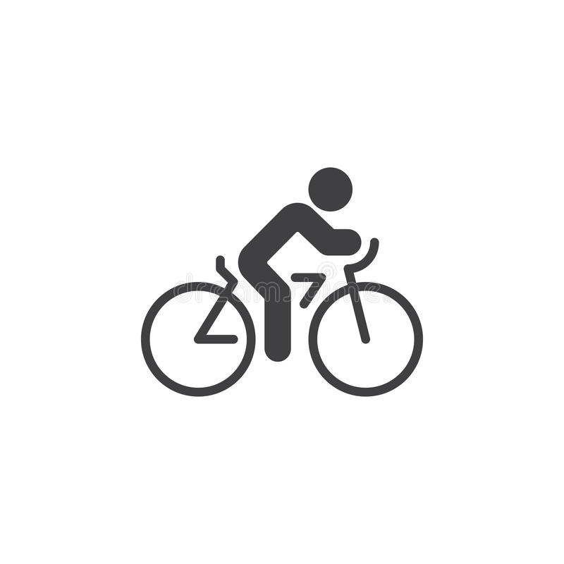 Kolarstwo ikony wektor, rowerowy stały mieszkanie znak, piktogram odizolowywający na bielu royalty ilustracja