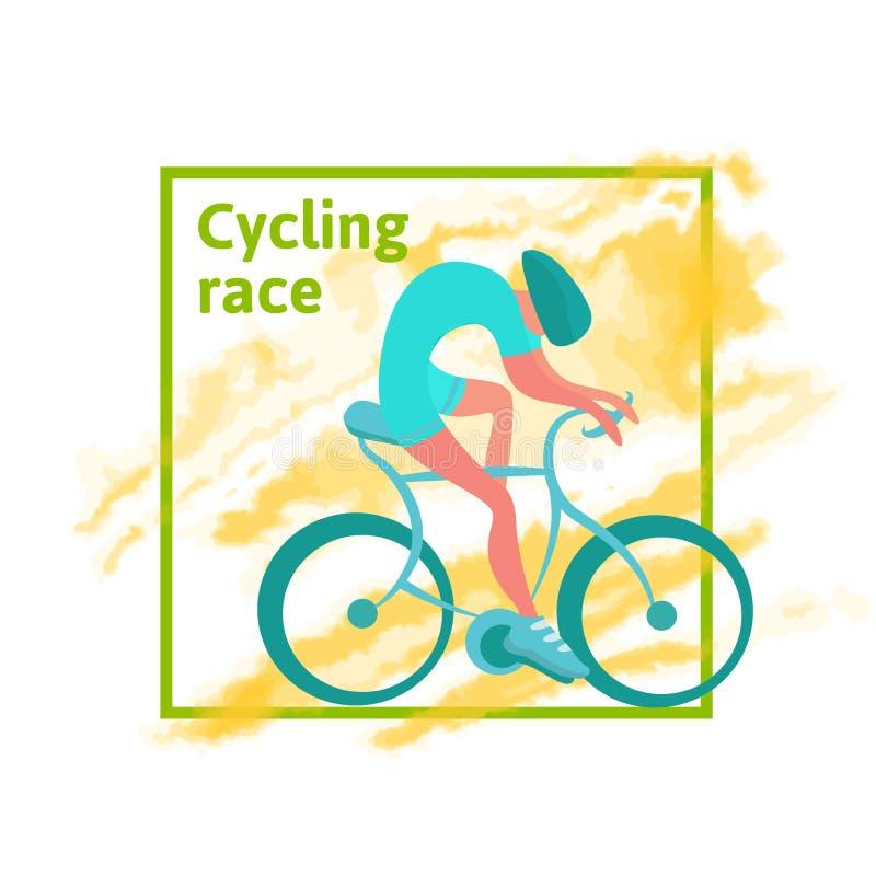 Kolarstwo rasa, plakatowy szablon Mężczyzna jedzie bicykl, Abstrakcjonistyczny akwarela punkt na tle również zwrócić corel ilustr royalty ilustracja