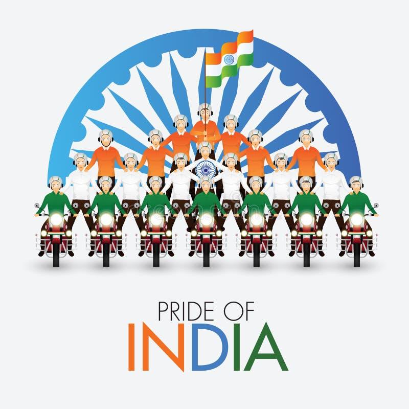 Kolarze wykonujący kaskaderskie występy na kuli z indyjską flagą przed kółkiem Ashoka dla dumy Indii ilustracji