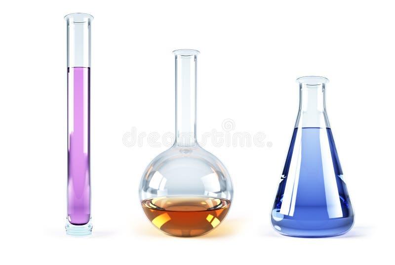 kolba chemiczni odczynniki ilustracja wektor