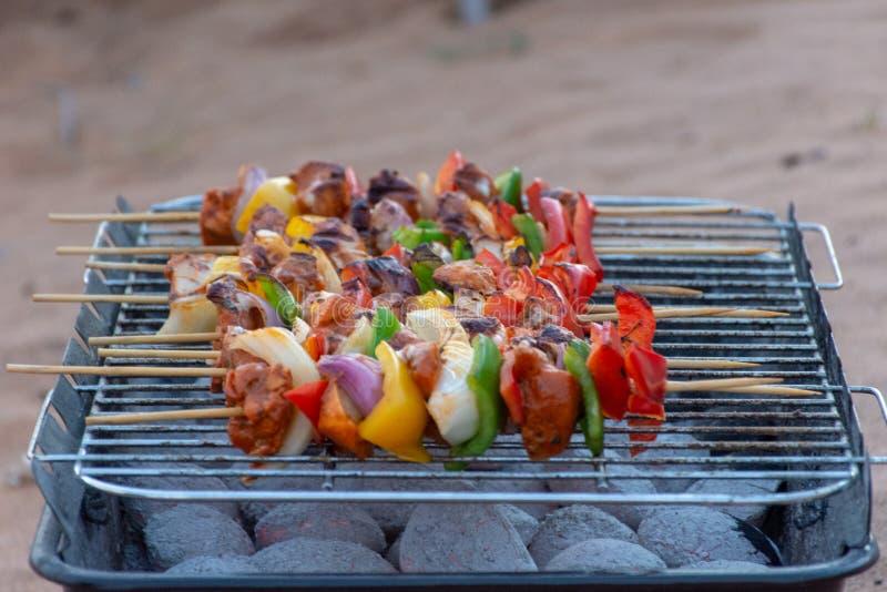 Kolbbq av kebaber i öknen arkivfoton
