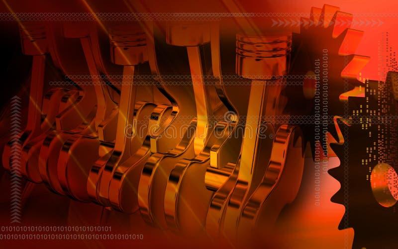 Kolben, die in einem Motor mit fünf Anschlägen arbeiten lizenzfreie abbildung