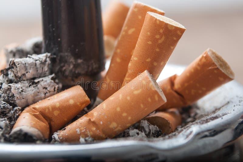 Kolben von Zigaretten im vollen Aschenbecher stockfotografie