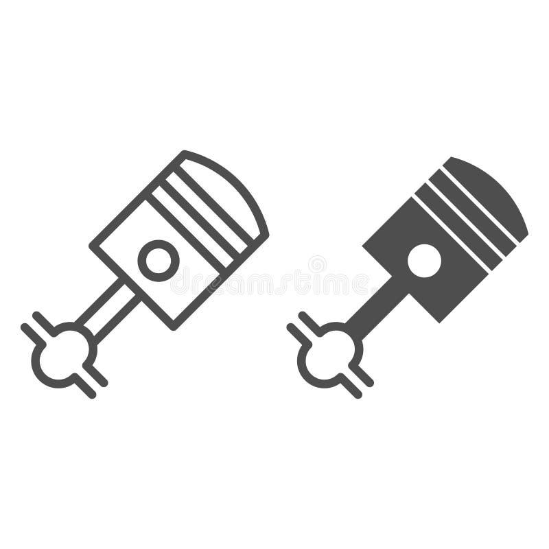 Kolbenlinie und Glyphikone Zylindervektorillustration lokalisiert auf Weiß Autoteilentwurfs-Artentwurf, entworfen für lizenzfreie abbildung