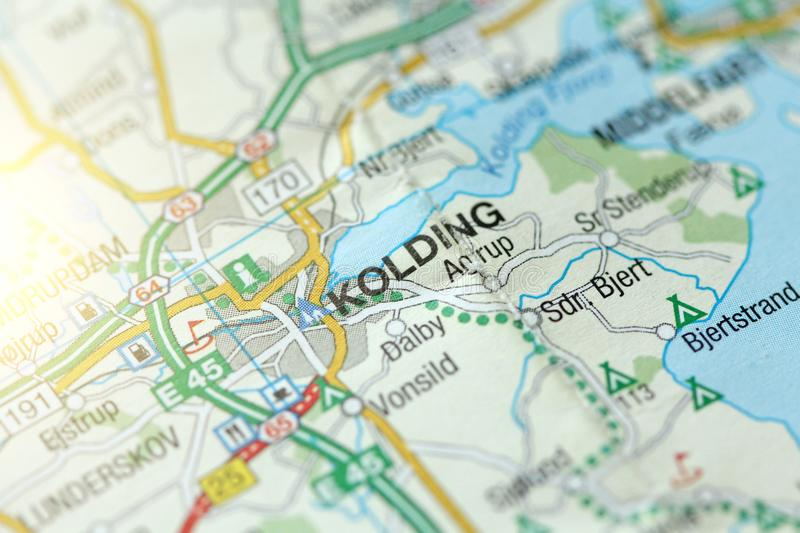 Kolding. Kongeriget Danmark. A paper map and roads on the map royalty free stock images
